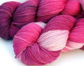 """Kettle Dyed Lace Yarn, Merino and Silk Lace Weight, in """"Begonia"""""""