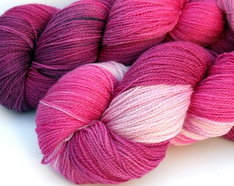 "Kettle Dyed Lace Yarn, Merino and Silk Lace Weight, in ""Begonia"""