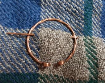 Shawl pin, penannular brooch, copper pin, penannular shawl pin, recycled copper shawl pin, Celtic, Roman, penannular