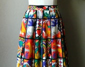 "Vintage ""Prophecy"" Folk Art African Safari Animal Tribal Print Maxi Skirt- Funky Colourful Savanna Elephant Medium Size 10"