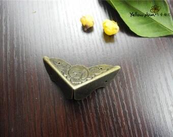 4PC/8PC/50PC 45*45*14mm antique brass color woodwork bracket,jewelry box, box corner decoration,chest box corner bracket E045