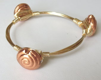"Genuine Rosy Copper Nautilus Bangle Bracelet  ""Bourbon and Bowties"" Inspired"