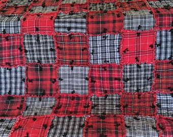 TWIN Red & Black Tied Rag Quilt Handmade Recycled Fabrics