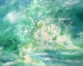 "Dancing Waves. 30""x40"" Large Original Mixed Media Art, beach home decor, ocean waves, seashells, 3d ocean,"