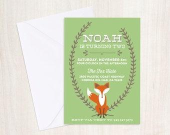 Autumn Fox Invitation - Woodland Fox - Fox Invite - Custom Digital Printable Invite