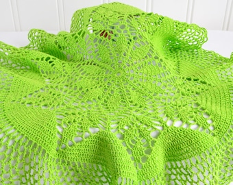 "Bright green doily, vintage Swedish crochet tablecloth, apple green 16 "" large doily"