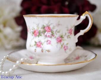 Paragon Victoriana Rose Teacup and Saucer Set, English Bone China Tea Cup Set, Replacement China, Tea Party, ca 1952-1963