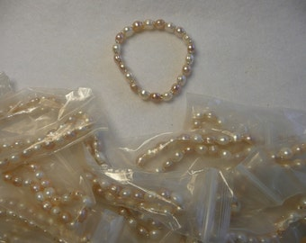 Fresh Water Pearl Double Drilled Bracelet Beads  Pink and Pearl