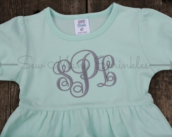 monogrammed dress, monogrammed outfit, girls monogrammed dress, kids monogrammed dress, ruffle dress, monogrammed mint dress, girls dress