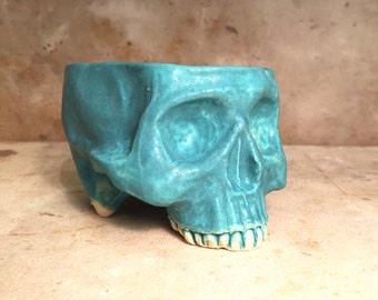 Ceramic Skull Mug Turquoise