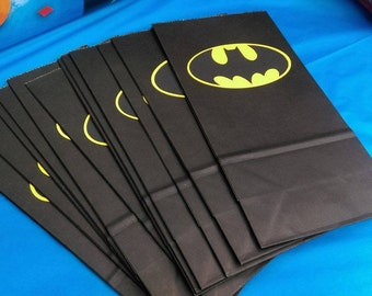 Batman Favor Bags, Batgirl Favor Bags, Yellow Batman Treat Bags, Batgirl Treat Bags for Birthday Party, Baby Shower