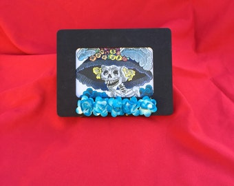 Day Of The Dead Catrina Framed Picture With Blue Roses