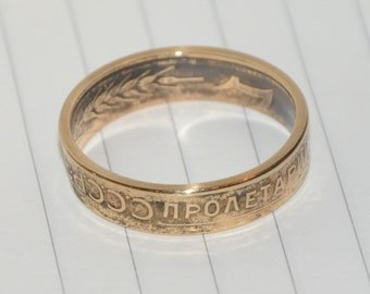 USSR 3 kopeck 30-s XX century. Stalin BronzeCoin ring. Size 8