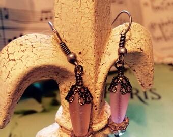 Soft Pink, Earrings, Sea glass beads, w/ Hand Wire Wrapped, Vintage Rhinestones & Swarovski Crystal beads.  By: Kari Wolf Designs