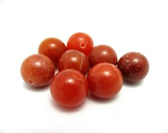 Red Aventurine Gemstone Beads - 10mm Round - 8pcs - Loose Gemstone Beads - Red Gemstone - Jewelry Making Supplies