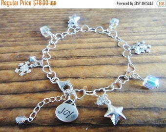 SUMMER SALE 30% OFF Sterling Silver chain bracelet with Swarvoski crystals, star and snowflake charms