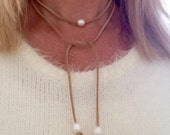 pearl necklace, pearl bracelet, beachcomber natural faux suede bracelet , freshwater pearl beach boho wrap bracelet