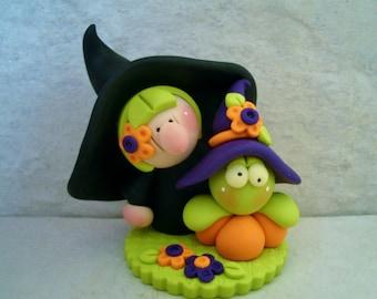 Witch - Frog - Pumpkin - Polymer Clay - Halloween Figurine