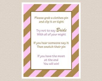 Bridal Shower Don't Say Bride Game Sign – Instant Download Printable Pink & Gold, Wedding Shower Game Sign, Hen Shower Dont Say Bride Game