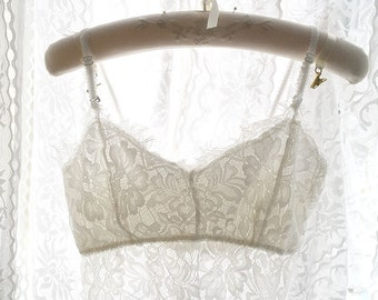 Boho Bohemian Gypsy Eyelashes French Lace Crop Top Beautiful White Lace Bralette Bralete Cami Camisole Romantic Angel