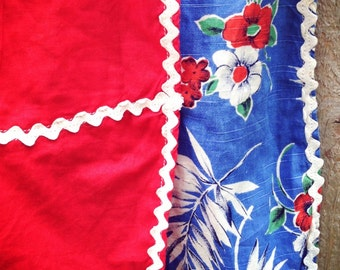 1950s Red Cotton Half Apron with Blue Floral Border Print