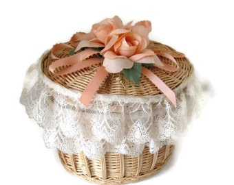 Vintage Boudoir Basket Music Box Cottage Chic Handmade Upcycled 1950s Lace and Silk Flowers