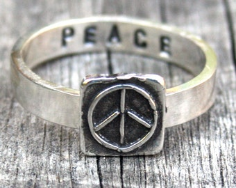 Sterling Silver Peace Ring - Custom Ring - Personalized Ring