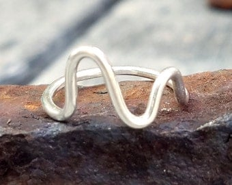 Pulse Line Midi Ring - Sterling Silver