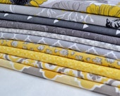 Fat Quarter Bundle of 10 Fabrics, Yellow, Gray, Light Gray, Black, Yellow Flowers, Nature, Birds, Leaves, Floral Fabric (GBYB-10-N34)