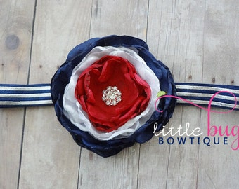 Red White Navy Blue 4th of July American Made Hand Singed Satin Flower Headband for Newborns, Toddlers, Girls, Teens