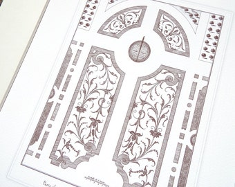 Antique French Garden Plan 9 In Sepia Archival Print on Watercolor Paper