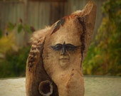 Crow Eyes, Free Standing Driftwood Sculpture with Geode and Feathers by ShapingSpirit