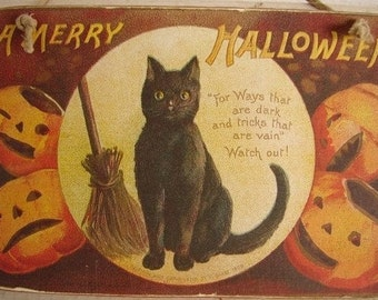 Vintage Halloween, black cat, Jack o lantern, broomstick, wooden tag with string to hang