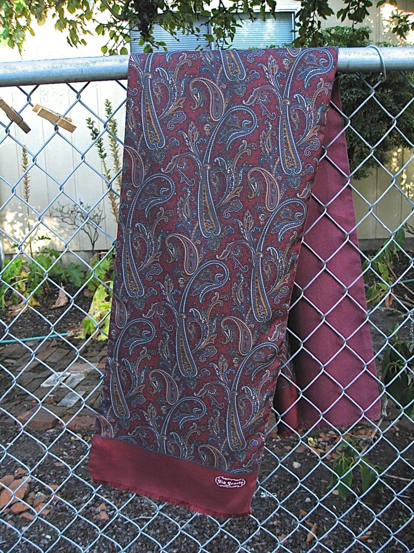 Via Veneto Vtg On Sale Signed Silk Burgandy Long Scarf Made in Italy ...