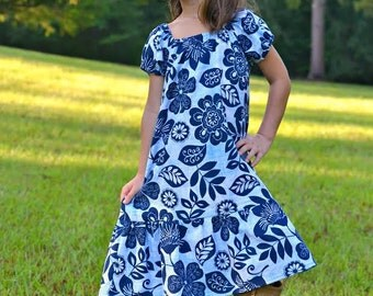 Girl Peasant Dress, Toddler Peasant Dress, Fall Dress, Peasant Dress, Little Girls Dress, Floral Toddler Dress, Denim Blue Peasant Dress