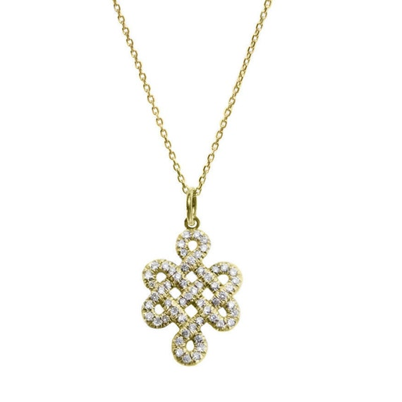 Endless Knot Jewelry, Gold Pendant Necklace, Tibetan Necklace, Love Necklace, Diamond Necklace, Tibetan Pendant, Anniversary Gift  14K White
