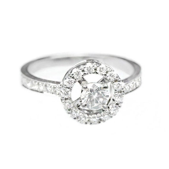 Halo Engagement Ring, 0.55 CT Pave Diamond Ring, Halo Ring, Unique Engagement Ring, Art Deco Ring