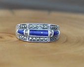 Vintage lapis lazuli marcasite sterling silver art deco style ring