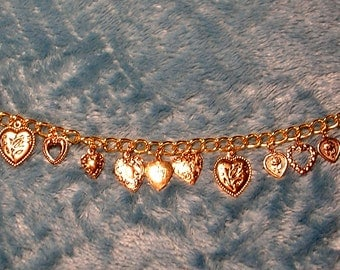 "A ""Heart of Gold"" Charm Bracelet..Perfect for Valentine's Day"