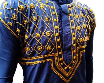 NavyBlue shirt for mens kurta viking tunic salwar kameez handembroidered boho gypsy clothes summer finds bridesmaid gifts for him cotton top