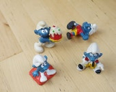 Vintage Lot of 4 Smurfs Toys Original 1980s WELL USED
