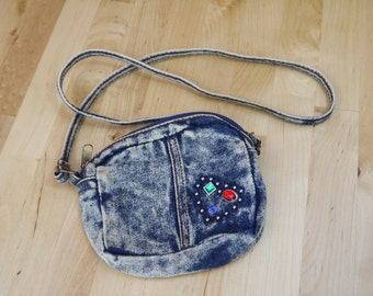 Vintage Small Bedazzled Denim Purse