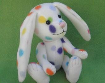 Jellybean - Polka dot Easter Bunny, Artist soft sculpture rabbit, plush rabbit