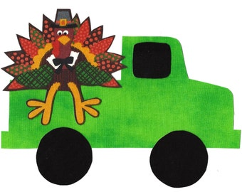 Iron on truck and turkey fabric applique DIY - size large