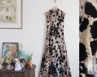 Vtg 60s Luxe Mr Blackwell Custom Red Carpet Evening Gown • OOAK Designer Animal Print Velvet Formal Dress - XS/S