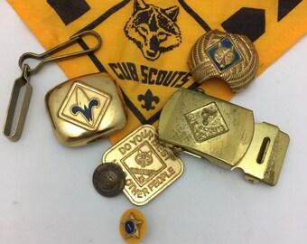 Boy Scout pins Cub Scout accessories vintage boy scout lot Boy Scouts of America bobcat pin
