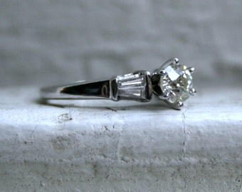 Elegant Vintage 14K White Gold Diamond Engagement Ring with Baguettes - 0.79ct.