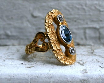 RESERVED - Beautiful Antique Floral 14K Yellow Gold Diamond and Sapphire Ring Engagement Ring - 0.85ct.