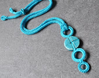 Unique ceramic necklace / Blue turquoise ceramic pendant / Crochet necklace / Geometric necklace / Ceramic jewelry by Aliquid / Modern