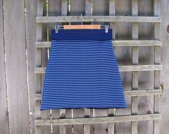 Retro Blue Checked Aline Skirt/ Funky Vintage Polyester Stretch Knit Knee Length Skirt Size Small